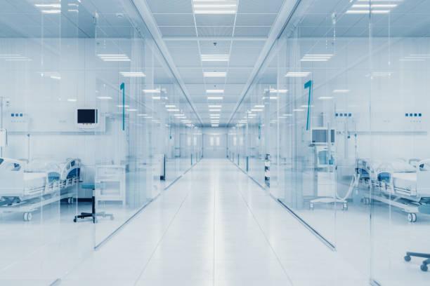 Modern Hospital Isolation Rooms stock photo
