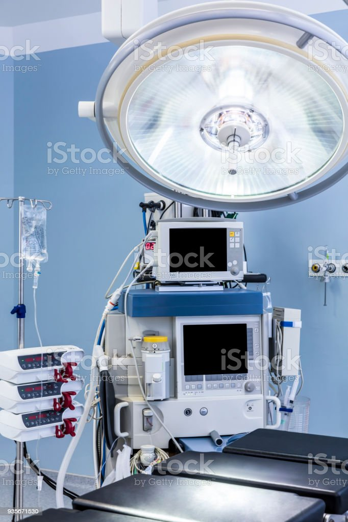 Modern hospital operating room with monitors and equipment stock photo