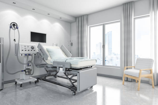 moderne ziekenhuiskamer met ventilatorsysteem - ventilator bed stockfoto's en -beelden