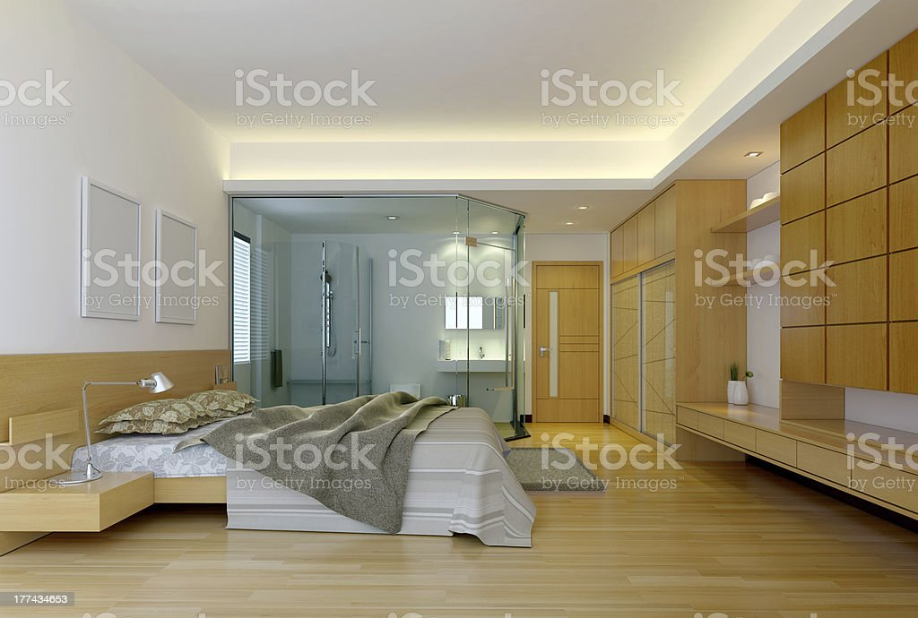 Modern hotel bedroom with bathroom royalty-free stock photo