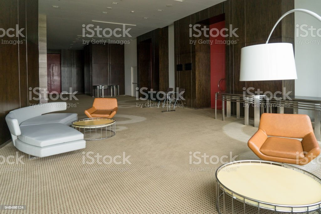 Modern Hotel Lobby With Leather Sofa And Chairs Lamp And Round Tables Stock Photo Download Image Now Istock