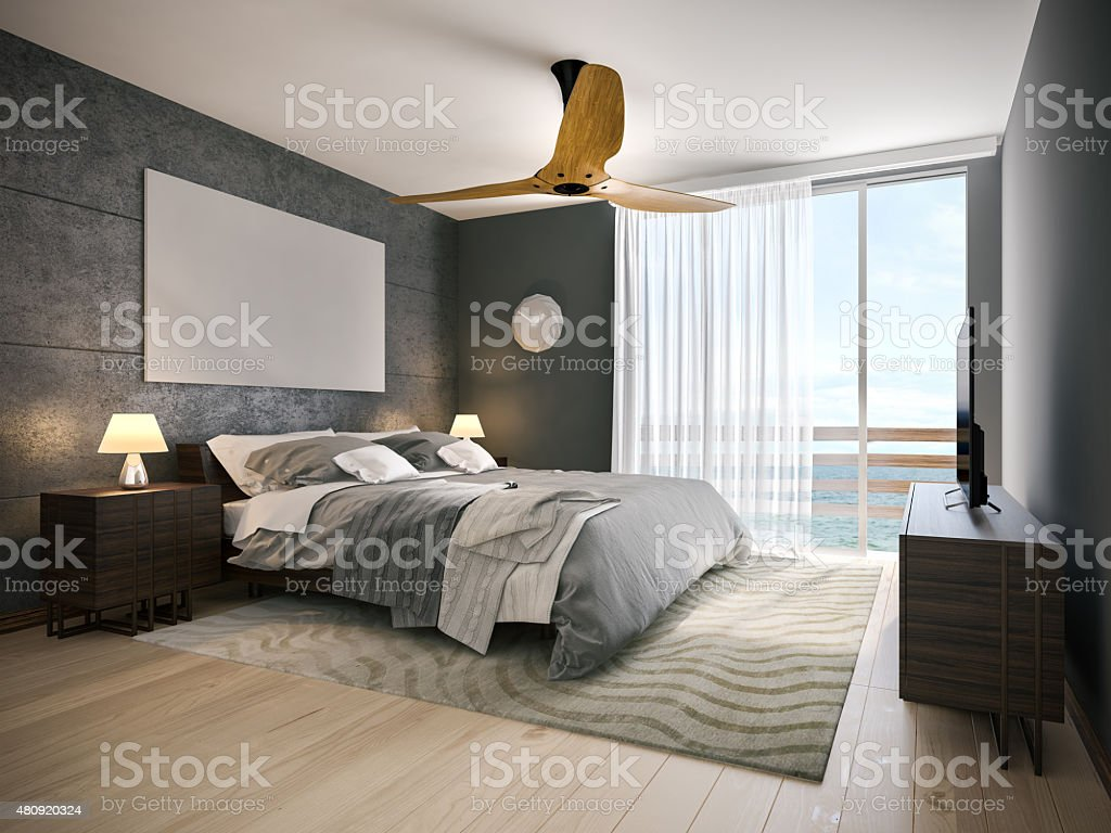 Modern hotel room stock photo