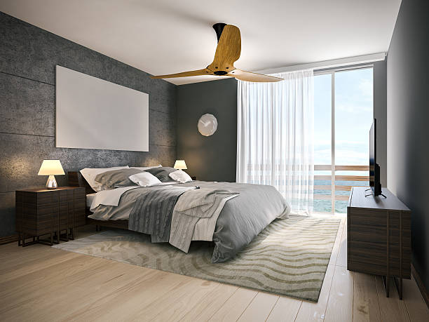 Modern hotel room A picture of modern hotel room near the beach. 3D render. luxury hotel room stock pictures, royalty-free photos & images