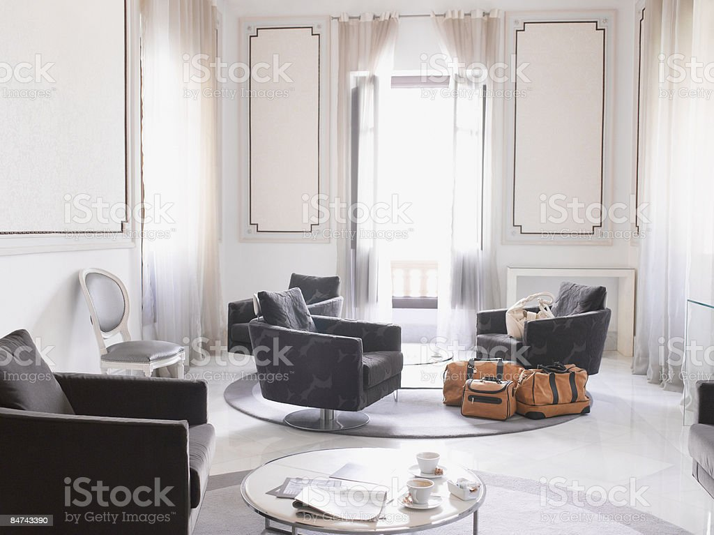 Modern hotel suite stock photo