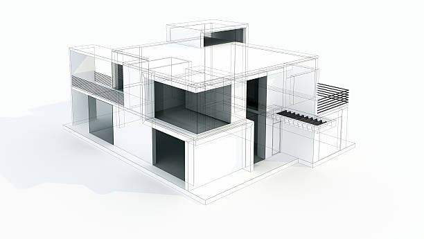 Modern House 3D Model Concept. Wire frame. Rendering. Project. stock photo