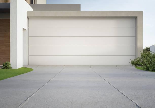 modernes haus und große garage mit betoneinfahrt. - auffahrt stock-fotos und bilder