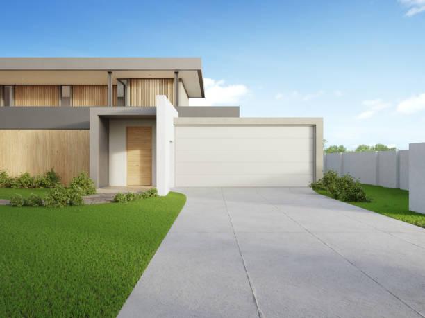 modernes haus und grünes gras mit blauem himmel hintergrund in immobilienverkauf oder immobilien-investitionskonzept. kauf eines neuen hauses für große familie. - auffahrt stock-fotos und bilder
