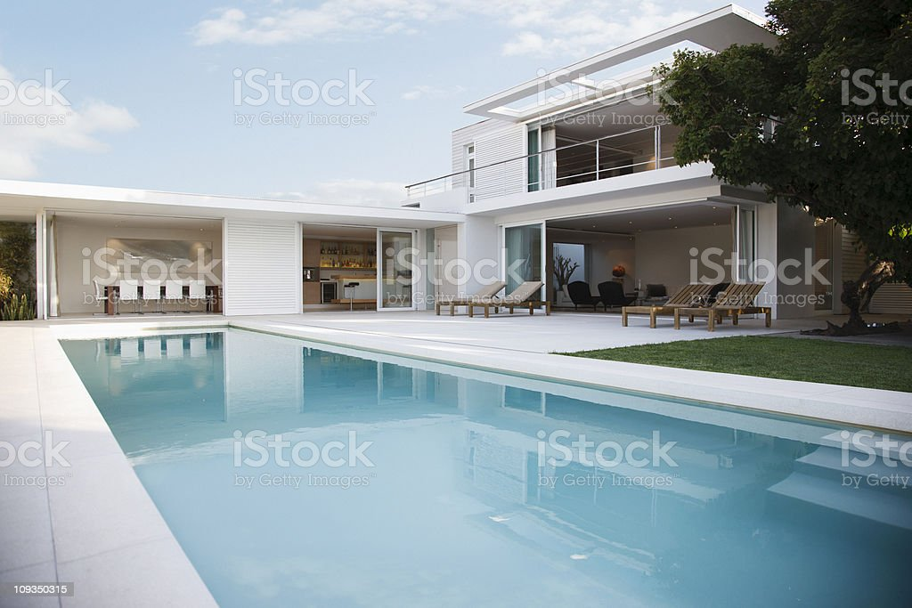 Modern house and swimming pool royalty-free stock photo