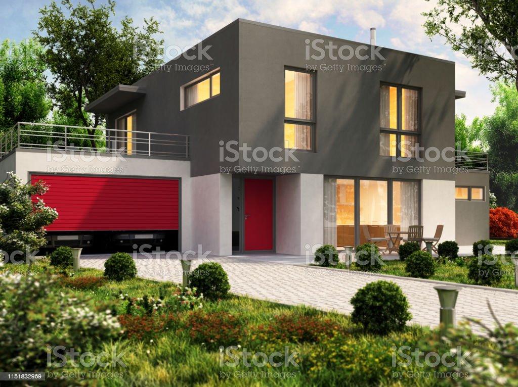 Modernes Hausdesign und große Garage für einen Pkw - Lizenzfrei Abenddämmerung Stock-Foto