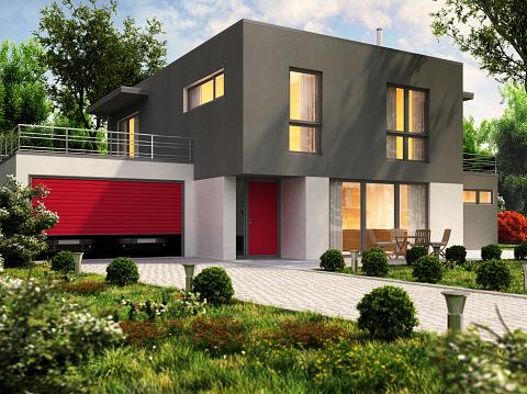 Modernes Hausdesign Und Große Garage Für Einen Pkw Stockfoto und mehr Bilder von Abenddämmerung