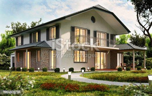 istock Modern house design 1064609794