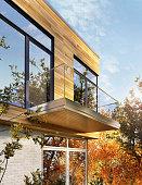 Modern house exterior design with siding
