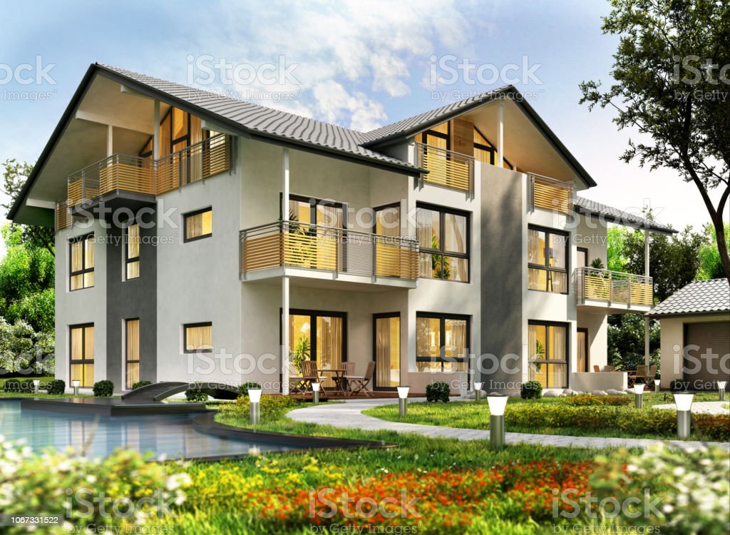 Modern House Design With Swimming Pool Stock Photo