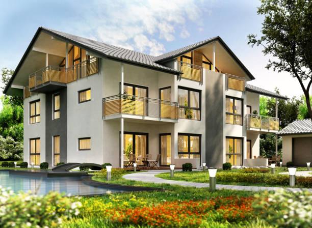 수영 풀을 가진 현대 주택 디자인 - 맨션 뉴스 사진 이미지