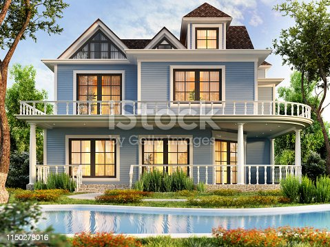 Modern blue house design with terrace and swimming pool