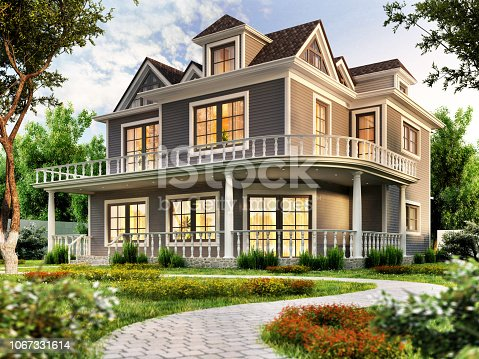 Modern house design with terrace