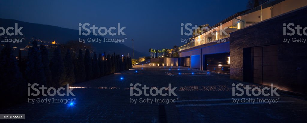 Modern House Entrance View From Courtyard Stock Photo & More