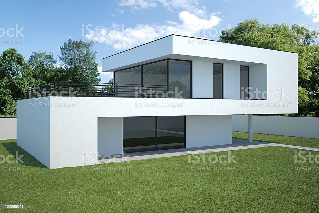 modern house - exterior with lawn royalty-free stock photo