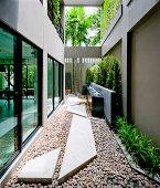 Modern  house facade with open living area