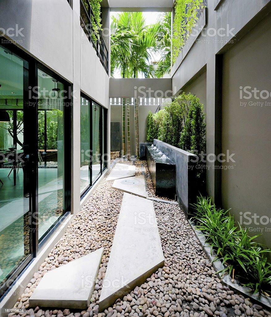 Modern house facade with open living area stock photo