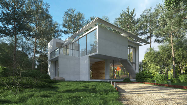 Modern house in the countryside stock photo