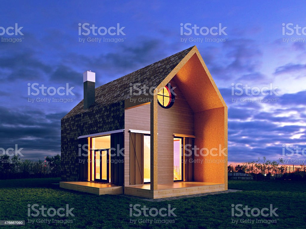 modern house in the night scene stock photo