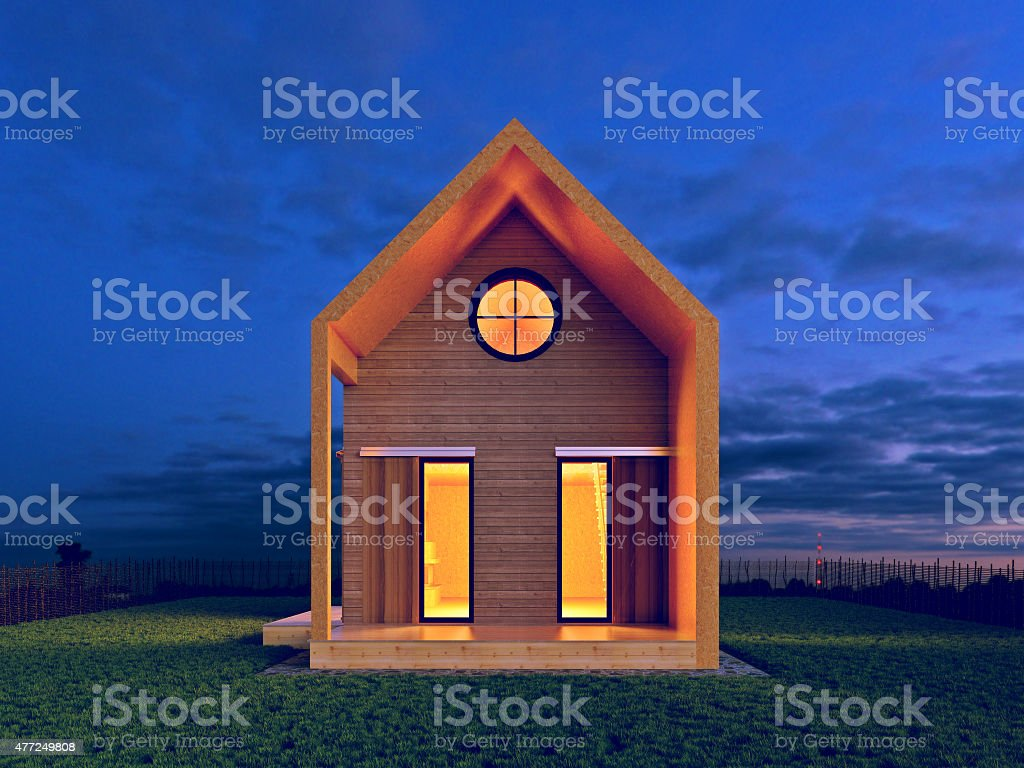 modern house in the night scene rendering stock photo