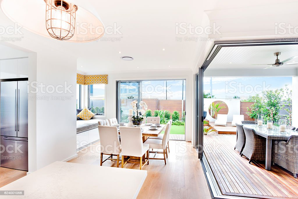 Modern house indoor outdoor areas close look  at day time stock photo
