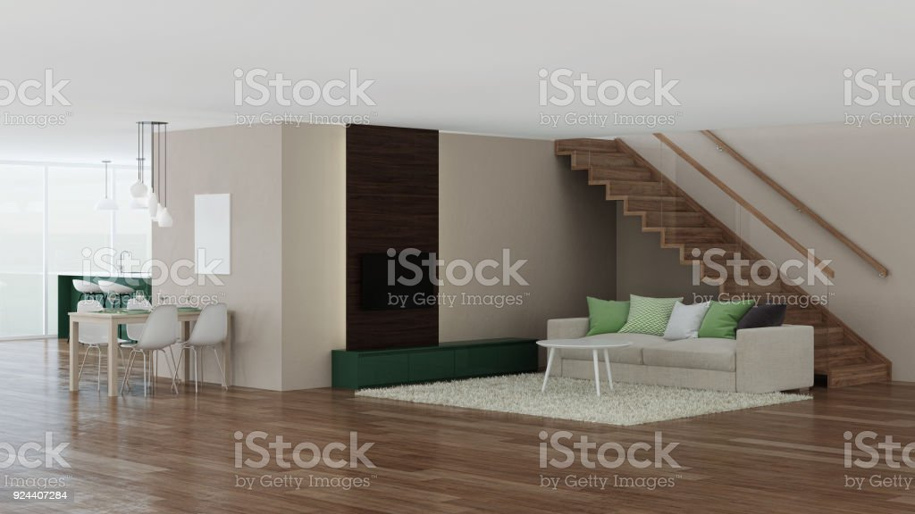 Modern house interior. 3D rendering. stock photo
