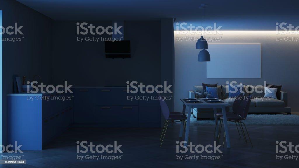 Modernes Haus Innen Blaue Kuche Nacht Beleuchtung Am Abend