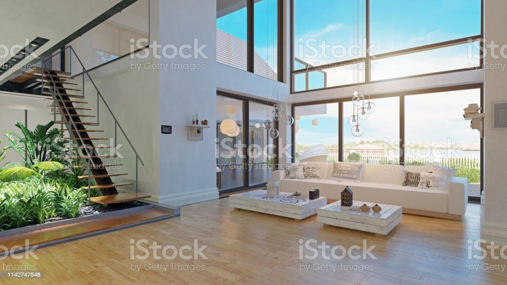 diseño interior de la casa moderna. foto de stock libre de derechos