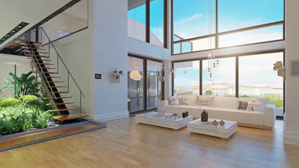 nowoczesny wystrój wnętrz domu. - luksus zdjęcia i obrazy z banku zdjęć