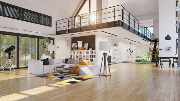 modern house interior design stock photo