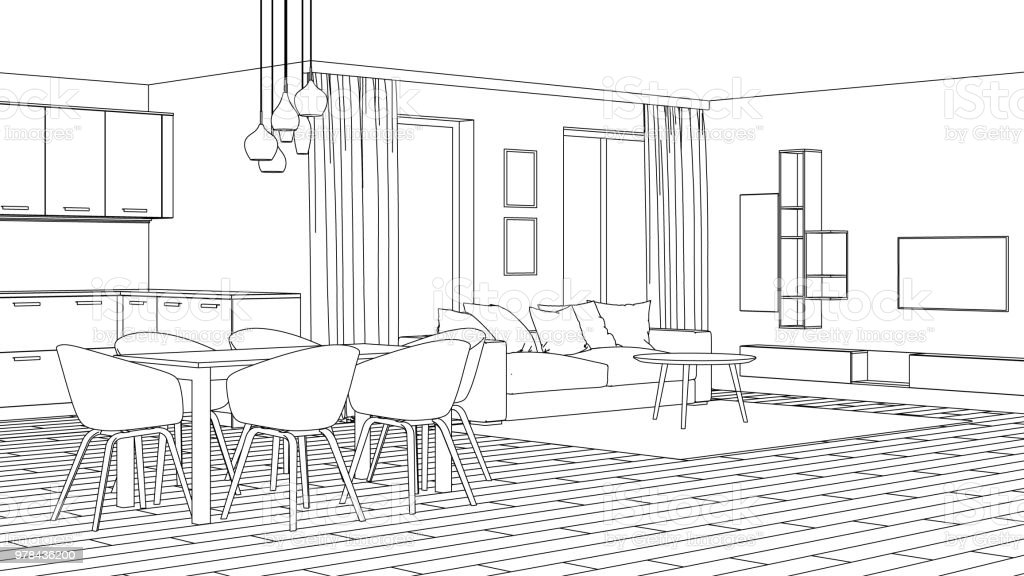 Modern House Interior Design Project Sketch 3d Rendering Stock Photo Download Image Now