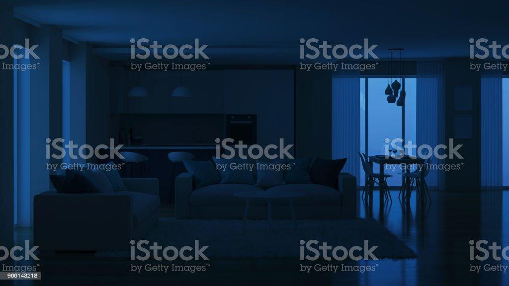 Moderna hus invändigt. Kvällen belysning. Natt. 3D-rendering. - Royaltyfri Arkitektur Bildbanksbilder