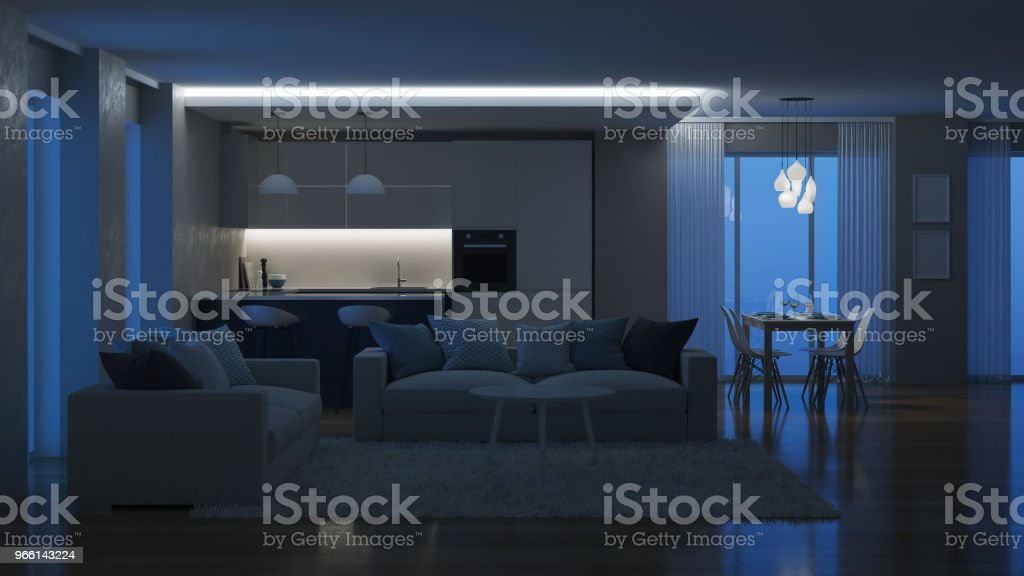 Modern house interior. Evening lighting. Night. 3D rendering. - Стоковые фото Архитектура роялти-фри