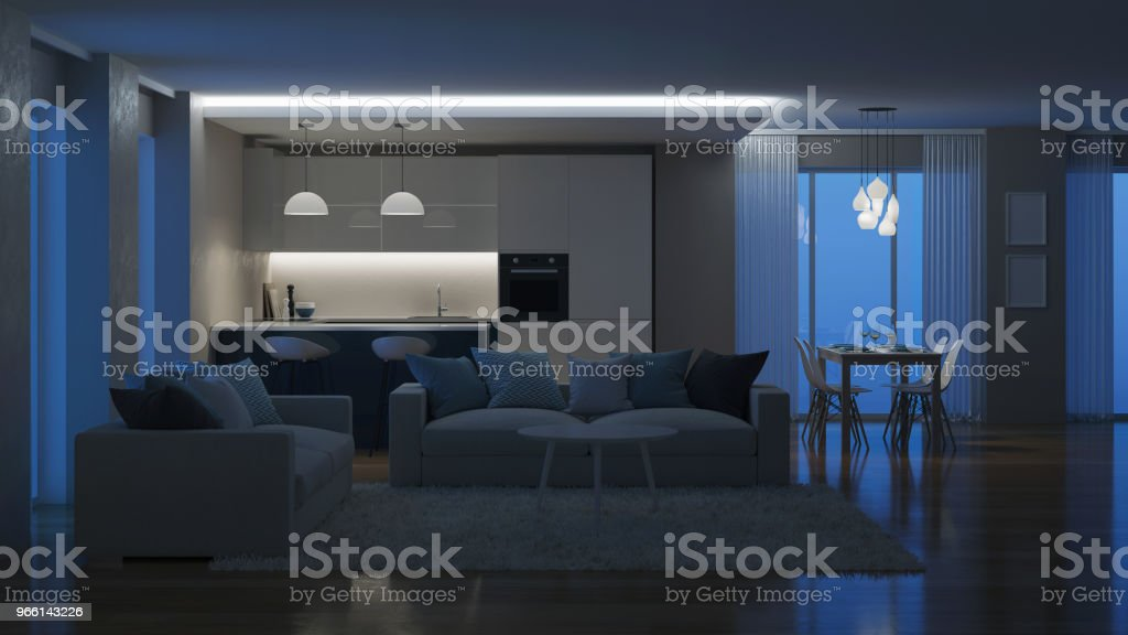 Modern house interior. Evening lighting. Night. 3D rendering. foto stock royalty-free