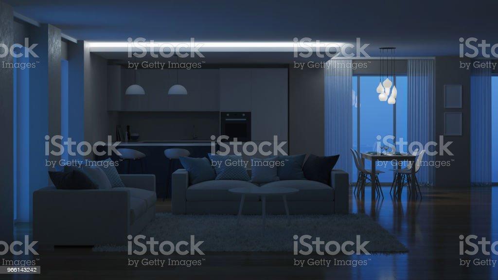 Modern house interior. Evening lighting. Night. 3D rendering. - Стоковые фото Архитектура роялти-фри
