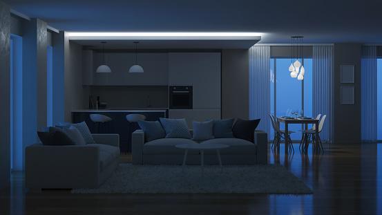 Modernes Haus Innen Beleuchtung Am Abend Nacht 3drendering Stockfoto und mehr Bilder von Abenddämmerung