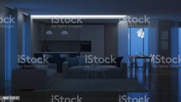 Modern House Interior Evening Lighting Night 3d Rendering — стоковые фотографии и другие картинки Архитектура