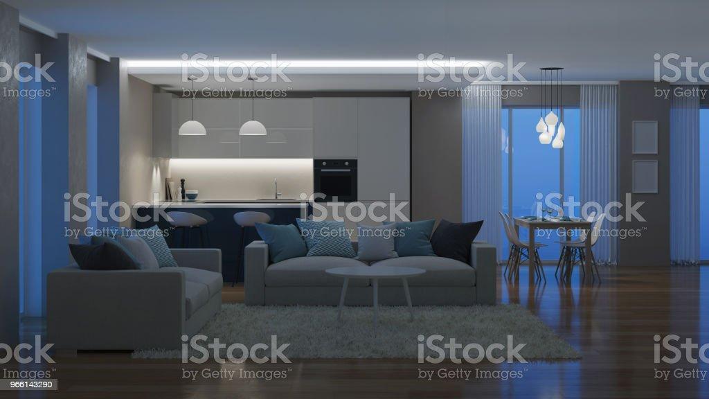 Modern huis interieur. 'S avonds de verlichting. Nacht. 3D-rendering. - Royalty-free Appartement Stockfoto