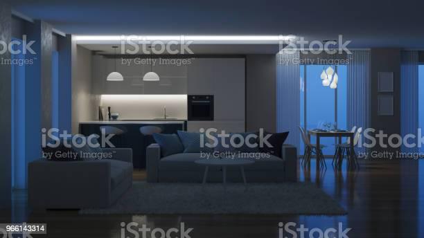 Moderna Hus Invändigt Kvällen Belysning Natt 3drendering-foton och fler bilder på Arkitektur