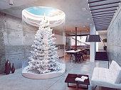 eco design of the modern kitchen interior. Pine tree indoor. 3d concept