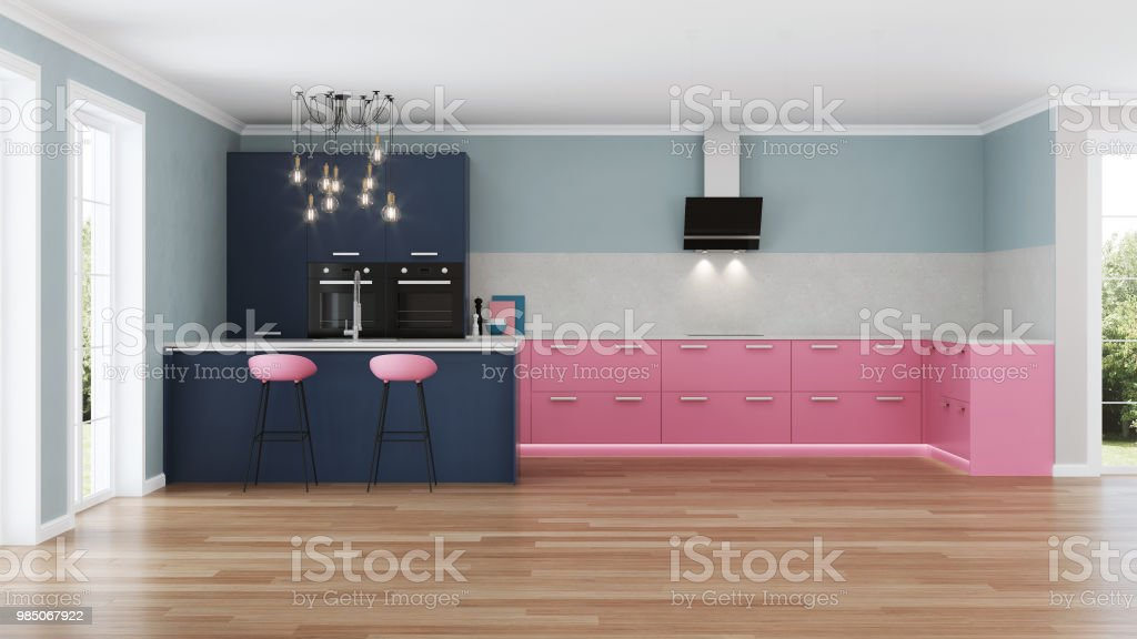 Modernes Haus Innen Rosa Kuche 3drendering Stock Fotografie Und Mehr