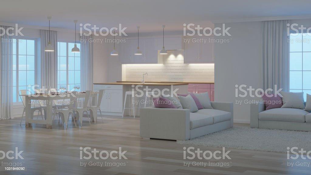 Intérieur De La Maison Moderne. Intérieur Blanc. Nuit. Eclairage De Soirée.  Rendu