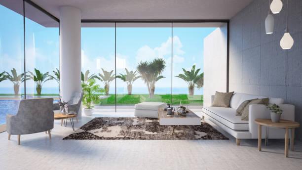modernes haus interieur mit privatem swimming pool - hotels in der türkei stock-fotos und bilder