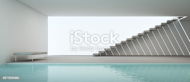 istock modern house interior with swimming pool and white wall 597959360