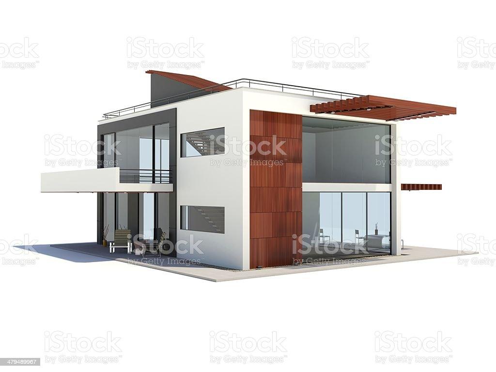 Modern house isolated on white stock photo