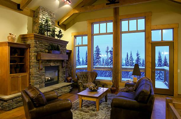 maison intérieur moderne de salle de séjour - station de ski photos et images de collection