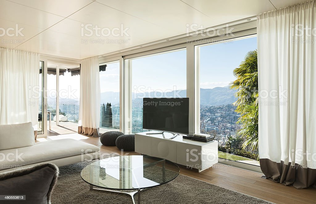 modern house, living room stock photo